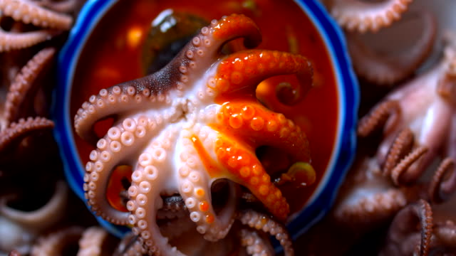 Cooked Baby Octopus and Chili Sauce