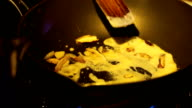 Cooking Carbonara sauce on pan
