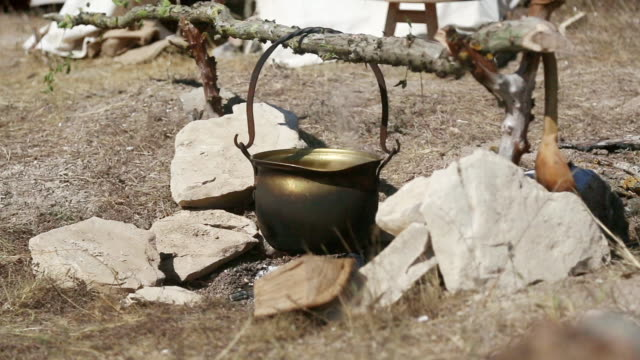 cooking in a pot on a fire in the forest