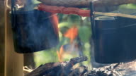 cooking in a pot on a fire