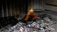 cooking meat on a barbecue grill