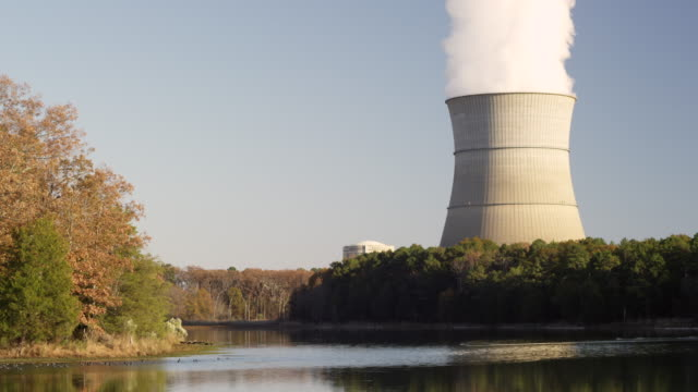 Cooling tower and lake.