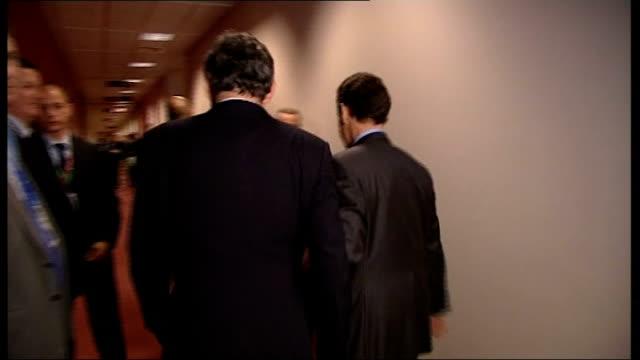 Gordon Brown meets Nicolas Sarkozy / Brown interview / Greenpeace protesters BELGIUM Brussels PHOTOGRAPHY *** Nicolas Sarkozy and Gordon Brown MP...