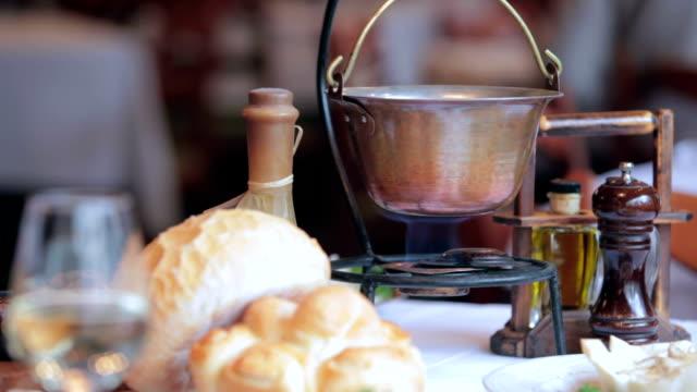 Copper pot with ragout