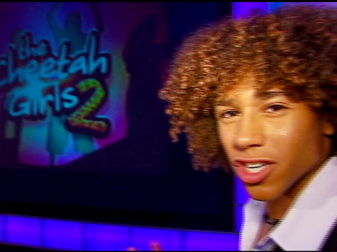 Corbin Bleu tours and explains the set at the Filming of 'The Cheetah Girls 2 Launch Party' at Hollywood Center Studios in Hollywood California on...