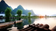 Cormorants on river rafts,Guilin,China.