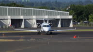 HD corporate business jet on runway