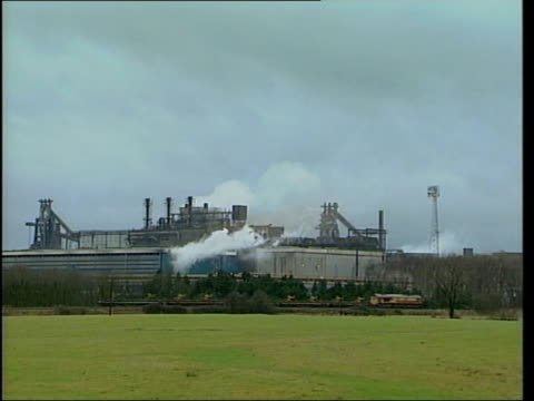 6000 steel workers lose jobs LIB WALES Newport Llanwern Corus steel plant surrounded by rooftops of Llanwern GV Llanwern steel plant as smoke coming...