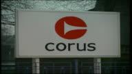 Shotton EXT gv sign for Corus steel plant outside pan to deserted entrance / cms sing 'corus' / gv sign for Shotton Tern Centre / gvs entrance to...