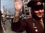 Cosmonaut Yuri Gagarin first man in space Gagarin's triumphant trips abroad with workers pit workers embraces