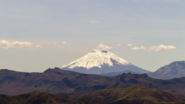 Cotopaxi Volcano, Ecuador with rugged Andean scenery in the foreground, viewed from the crest of the Eastern Cordillera near Papallacta.