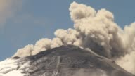 Cotopaxi volcano spewing vapor and ash during erupting process
