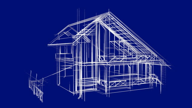 Cottage Architecture Wireframe Sketch