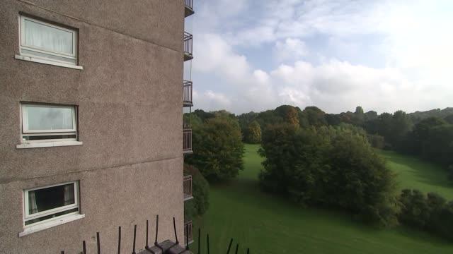Councils denied cash for sprinklers in tower blocks Nottinghamshire Nottingham EXT Wide shot of Nottingham cityscape Satellite dish on side of...