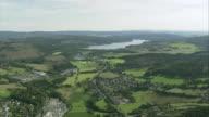 AERIAL Countryside and Sorpesee reservoir, North Rhine-Westphalia, Germany