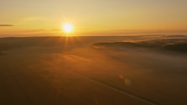 AERIAL Countryside covered with morning mist