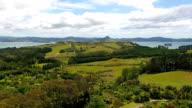 Countryside, trees, panorama, sea, landscape of Coromandel, NZ