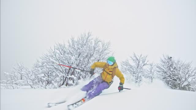 SLO MO Couple backcountry skiing in powder snow