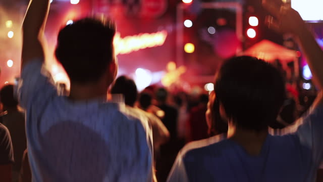 Couple close friend singing and dancing in the outdoor concert from the back view