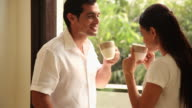 Couple drinking tea in the morning