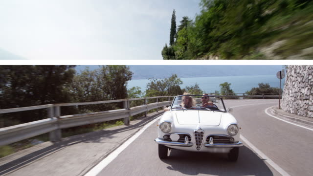 Couple driving cabriolet (Splitscreen)