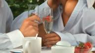 HD DOLLY: Couple Enjoying Champagne