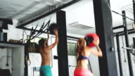 Couple have strong and energy training