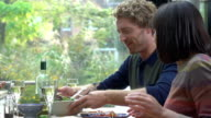 HD SUPER SLOW-MO: Couple Having Lunch
