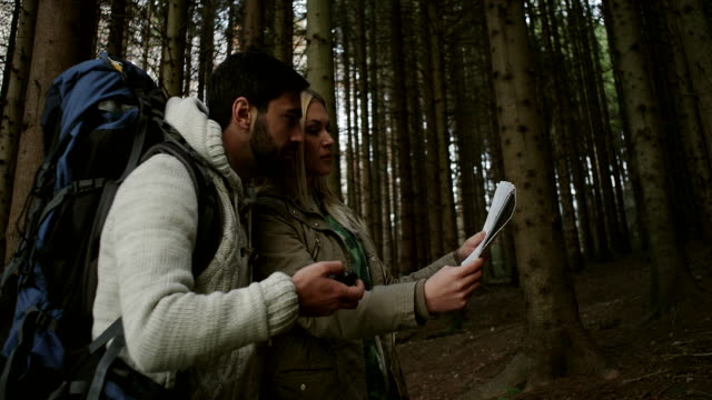 Couple hiking and looking at map