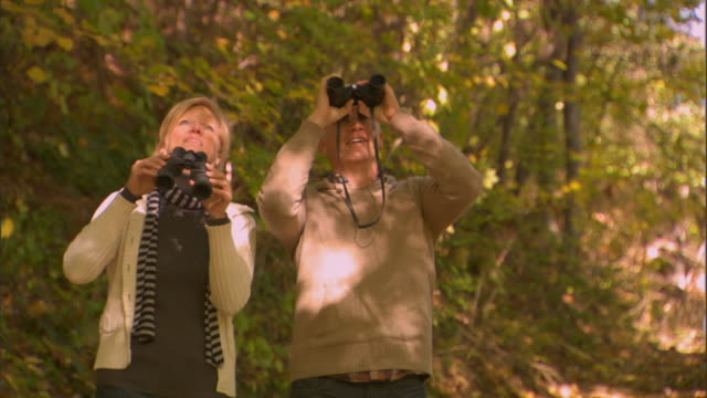 WS Couple holding hands and walking down wooded path/ Couple stopping and birdwatching with binoculars/ Livingston, New York