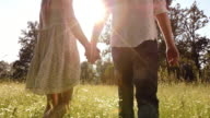 SLO MO Couple holding hands walking across a summer meadow
