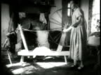 Couple in horse drawn cart up country road Rural woman w/ cow into building Rural woman operating spinning wheel in room Male working loom Man...