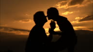 A couple in silhouette laugh and kiss as they drink from stemmed glasses. Available in HD