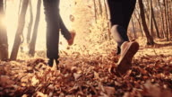 SLO MO Couple kicking dry leaves while running