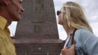 Couple look across to Monument to the Equator