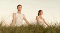 HD: Couple Meditating Outdoors On The Grass