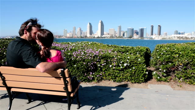 Couple on a bench looking at the city