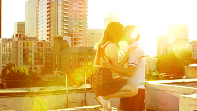 Couple on rooftop deck
