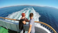 POV Couple posing on the ferry