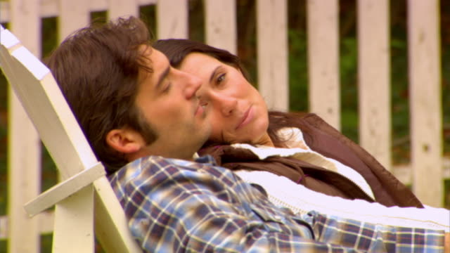 CU, Couple relaxing in country house garden, Phoenicia, New York, USA