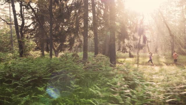 Veduta aerea di coppia correre attraverso la foresta di mattina presto sole