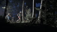 AERIAL Couple running through the forest at night