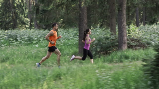 SLO MO DS Couple running through the forest