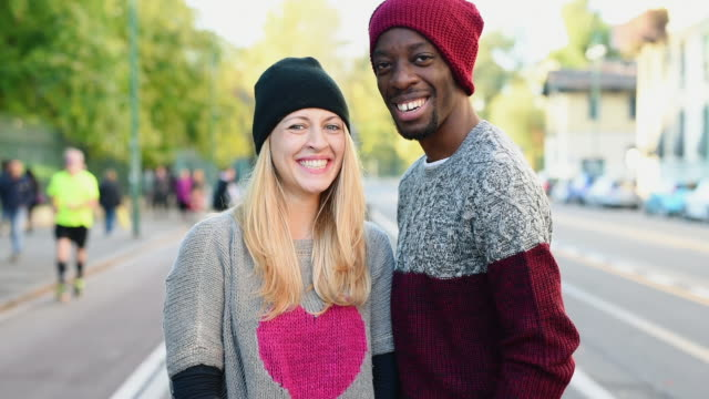 Couple smiling