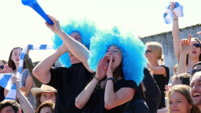 MS Couple standing in stadium crowd wearing wigs cheering and using vuvuzela during soccer match