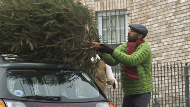 MS PAN Couple taking Christmas Tree off car  / Newark, New Jersey, USA