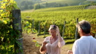 Couple walk into vineyard, take smart phone pic