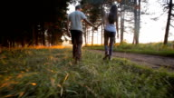 Couple walking in the forest