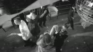 B/W, MS, HA, Couples dancing in ballroom, Rockford Woman's Club, Rockford, Illinois, USA