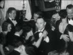 B/W 1938 couples in formalwear dancing at elegant nightclub / NYC / documentary